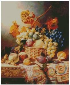 Схема Натюрморт с виноградом и сливами