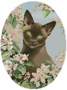Схема Кошка в розовых цветах