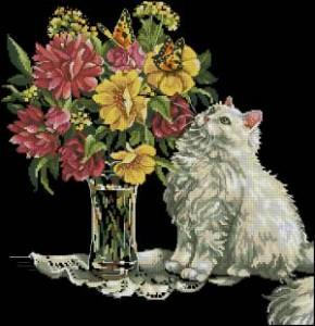 Схема Кот и цветы / Cat and flowers