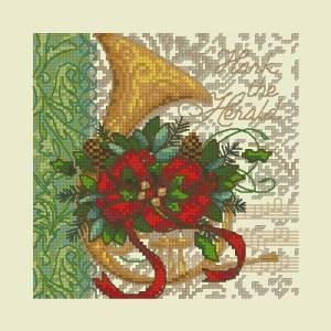 Схема Рождественская открытка, рожок