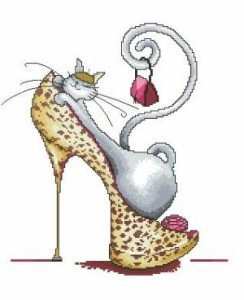 Схема Гламурная кошечка в леопардовой туфельке