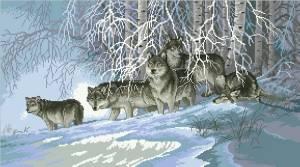 Схема Волки в зимнем лесу
