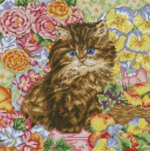 Схема Котёнок в цветах