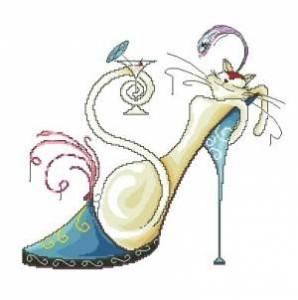 Схема Гламурная кошечка в туфельке с мартини