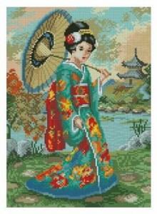 Схема Гейша в цветном кимоно
