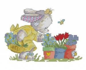 Схема Зайка с цветочками