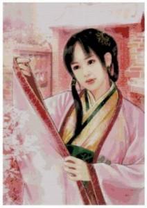 Схема Японка в розовом