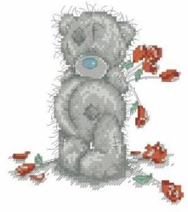 Схема С розами. Мишка Тедди