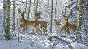 Схема Олени в зимнем лесу