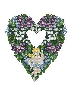 Схема Цветочное сердце с ангелом