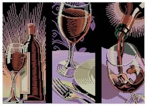 Схема Бокал с вином. Триптих