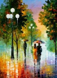 Схема Вечерняя прогулка под дождём