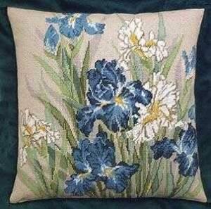 Схема Ирисы синие. Подушка