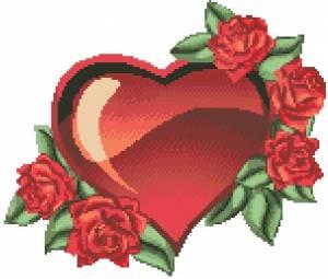Схема Сердце в розах