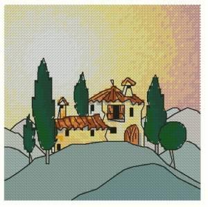 Схема Коттедж в Тоскании на холме
