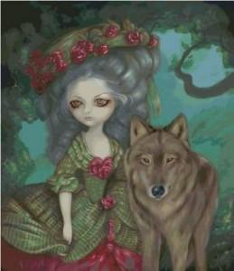 Схема Дама с волком. Розы