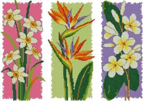 Схемы вышивки цветы триптих