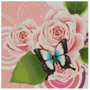 Схема Бабочка на розе. Подушка