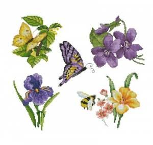 Схема Цветы и бабочки. Робин