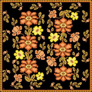 Схема Подушка - Цветы на черном фоне