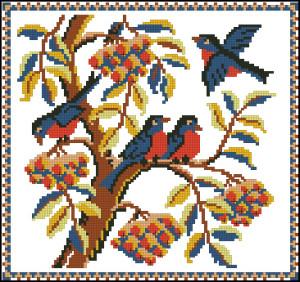 Схема Подушка с малиновками (Riolis)