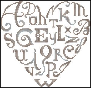 Схема Сердечко из букв