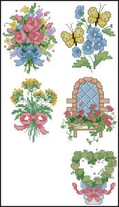 Схема Садовая вышивка / Dimensions 00212, Garden Quickies 1-5