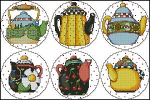 Схема Коллекция чайников / Teapot Collection 2 Coasters
