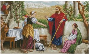 Схема Иисус с Марфой и Марией