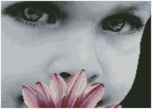 Схема малыш с цветком
