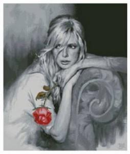 Схема Девушка с алой розой