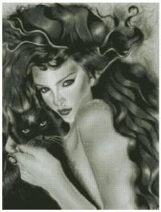 Схема Девушка с котом