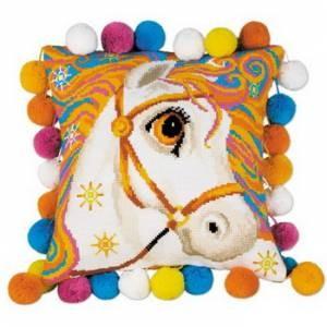 Схема Златогривая лошадка. Подушка