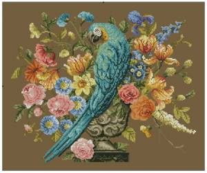 Схема Подушка с попугаем