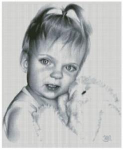 Схема Малышка с игрушкой