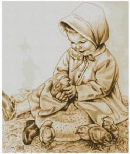 Схема Девчушка с цыплятами