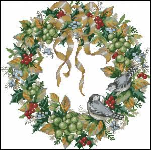 Схема Венок с птичками и ягодами