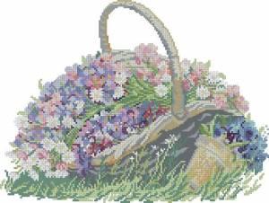 Схема Цветы в корзине