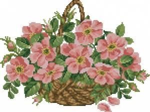 Схема Корзинка с цветами шиповника