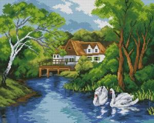 Схема Пейзаж с лебедями