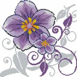 Фиолетовый цветок для подушки