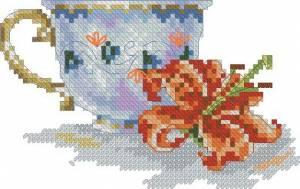 Схема Цветок в чашке. Лилия