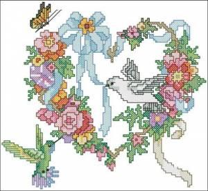 Схема Венок Цветочное сердце