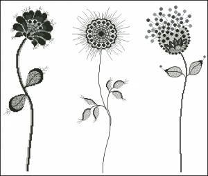 Схема Цветы с элементами блекворка
