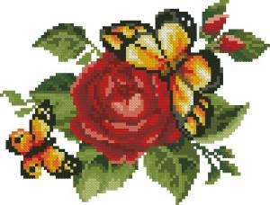 Бабочки и роза