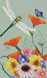 Стрекозка над цветами