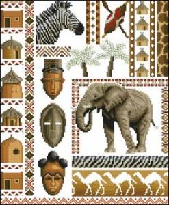 Сэмплер с африканскими животными