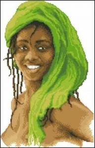 Схема Девочка в зеленом платке