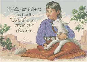 Индейская девочка с ягненком