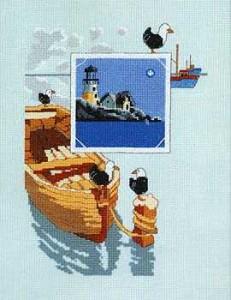 Маяк и чайки на лодке